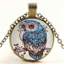 Vintage Beautiful Owl Photo Cabochon Glass Bronze Chain Pendant Necklace#AK55
