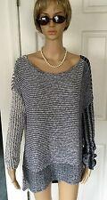 FREE PEOPLE Sweater Tunic Gray/White/Navy Knit Long Sleeved Boat Neck SZ Large