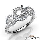 3 Stone Diamond Engagement Exquisite Round Semi Mount Setting Ring Platinum 1Ct