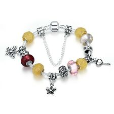 Sterling Silver European Beads Gold Red Pink Flower Key Lucky Charm Bracelet L29