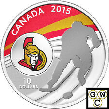 2015 Ottawa Senators-NHL Colored Proof $10 Silver Coin 1/2oz .9999 Fine (14095)