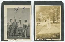 1916-17 EARLY GOLF PHOTOS SET OF 2 - ONE LADY PUTTING   4 MEN W/ CLUBS
