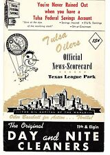 1957 TULSA OILERS vs FORT WORTH CATS Baseball Scorecard/Program