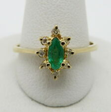 Pretty Halo 14K Yellow Gold Genuine Marquise Emerald and Round Diamond Ring