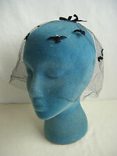 Vtg 50s Black Felt Birds/ Velvet Bows Veil Net Hat, no damaged & Free ship!