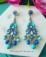 Vintage white crystal & blue bead cocktail statement dangling drop earrings