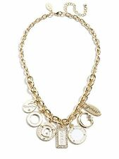 NEW GUESS POLISHED GOLD TONE WITH WHITE MULTI CHARM,G,CIRCLE,CRYSTAL NECKLACE