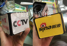 Customized LOGO TV Mic Microphone Interview Square Cube Logo Flag Station