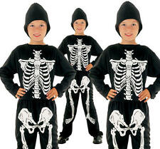 Childrens Kids Skeleton Fancy Dress Costume Halloween Boys Girls Outfit M