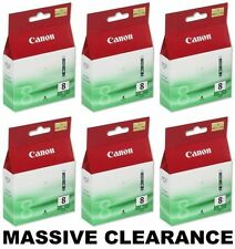*CLEARANCE* 6 x Genuine/Original Canon Ink Printer Cartridges CLI-8G Green Cart