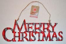 Buon Natale Tartan in Legno Albero Natale Porta Finestra DECORAZIONI ORNAMENTI Stringa