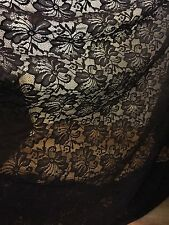 "5 MTR QUALITY NEW BLACK LACE NET SLIGHT STRETCH FABRIC...60"" WIDE £12.49"