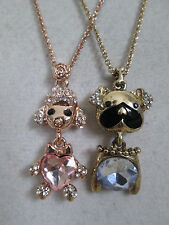 NWT Auth Betsey Johnson Bulldog Poodle Dog Puppy Chain Pendant Necklace Set of 2
