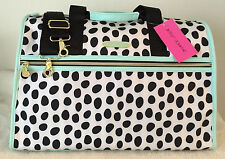 BETSEY JOHNSON WEEKENDER POLKA DOT AQUA MINT BLACK TRAVEL LUGGAGE DUFFLE BAG NWT
