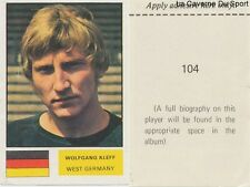 104 KLEFF WEST GERMANY STICKER Soccer Stars WORLD CUP 1974 FKS PUBLISHER