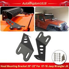 "Pair 20"" LED Light bar Metal Hood Mounting Bracket For 07-16 Jeep JK Wrangler"
