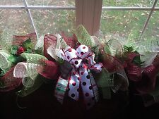 Christmas Garland Matches Listed Wreath Holly Ribbons Deco Mesh Holiday