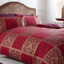 Luxury DOUBLE Duvet Set Jewel Red Gold Purple Ethnic Moroccan Tile Pattern NEW