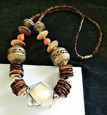 Unique Abalone shell inlay Red Apple Coral Brass filigree wood coconut NECKLACE