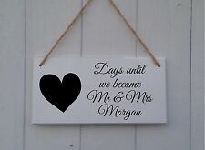 Personalised Countdown to Wedding Chalkboard Plaque Sign Engagement Gift Mr Mrs