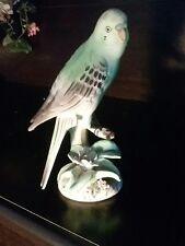 BIRD PARAKEET TMJ  FIGURINE LIFE SIZE PARAKEET GREEN JAPAN PORCELAIN CERAMIC
