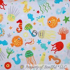 BonEful Fabric FQ Cotton Quilt Gray Blue Star Jelly Fish Octopus Sea Horse Coral