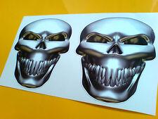 De Metal Calavera mirando hacia adelante Auto Moto Stickers Calcomanías 1 Par De 90mm