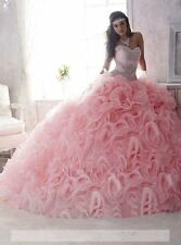 New Pink Color Accented Ball Gown Wedding dress Quinceanera Pageant Prom Dresses