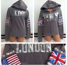 Victoria's Secret Pink Gray London Bling Fashion Show 2014 Zip Up Hoodie -S *NIP