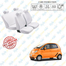 Car Seat Covers Denim Cotton (White) - Complete Set For Tata Nano