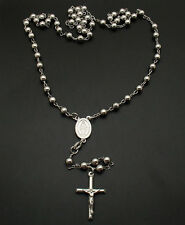 Platinum Clad Sterling Silver ROSARY NECKLACE CROSS