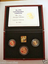 1996 GOLD PROOF THREE COIN SET COLLECTION £2 SOVEREIGN 1/2 HALF SOVEREIGN