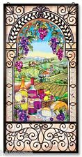 "AMIA STAINED GLASS WINDOW PANEL 20"" X 40"" WINE AND CHEESE  #9825"
