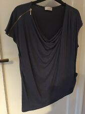 M&S Per Una Grey Draped Neck Capped Sleeve T-shirt Size 18