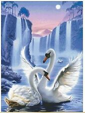 5D DIY Diamond Painting Swans 100% full square drill, Canvas size app. 40x30cm
