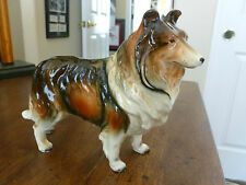 Beautiful Porcelain Collie Figurine - Brown/Black/White - unmarked