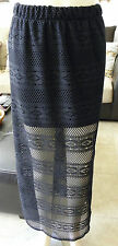 NWOT From Peru Cotton Summer Beach Cover Up Knitted Mesh Crochet Skirt - Black