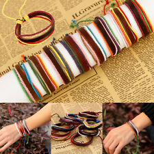 Fashion Women Men Punk Leather Braided Handmade Cuff Wristband Bangle Bracelet