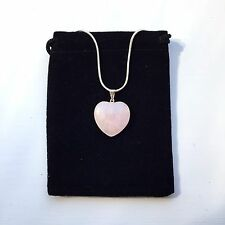 """Rose Quartz Heart Shaped Necklace Pendant With Silver Plated 18"""" Chain"""