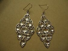 Vintage HUGE Icy Sparkle Checkerboard Faceted Rhinestone Danlge Post Earrings