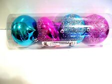 4 TURQUOISE & PINK BEAD GLITTER SHATTER RESISTANT CHRISTMAS ORNAMENTS DECORATION