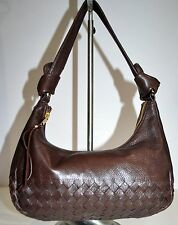 Elliot Lucca Brown Leather Hobo Soft Pliable Basket Weave Nice Style Purse