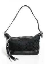 COACH Black Canvas Signature Silver Tone Leather Trim Shoulder 9363 Handbag