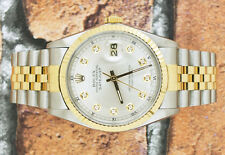 Steel & Yellow Gold Silver Diamond Dial Rolex Oyster Perpetual Datejust.