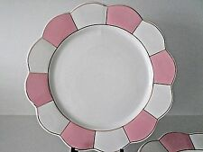 Cynthia Rowley Porcelain Dinner Plates Pink White Scalloped Border Set Of 4 New