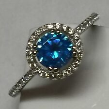 Beautiful 1ct London Blue Topaz White Sapphire 925 Solid Sterling Silver Ring 6
