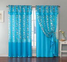 One Piece Blue Window Curtain Panel: Attached Valance and Backing, Floral Design
