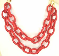 Red Links Necklace Gold Tone Resin Plastic Iris Apfel Style Statement Designer