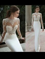 UK White/Ivory LongSleeve Mermaid Appliqué Evening Prom Wedding Dress Size 6-16