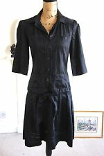 BNWOT Diane Von Furstenberg Black Cotton Button Drop Waist Shirt Dress 10 Small